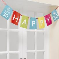 Keep Calm And Party On Happy Birthday Bunting - Ages 30 40 50